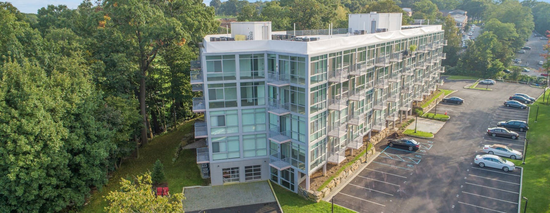 aerial view of Glasshouse 250 and parking lot