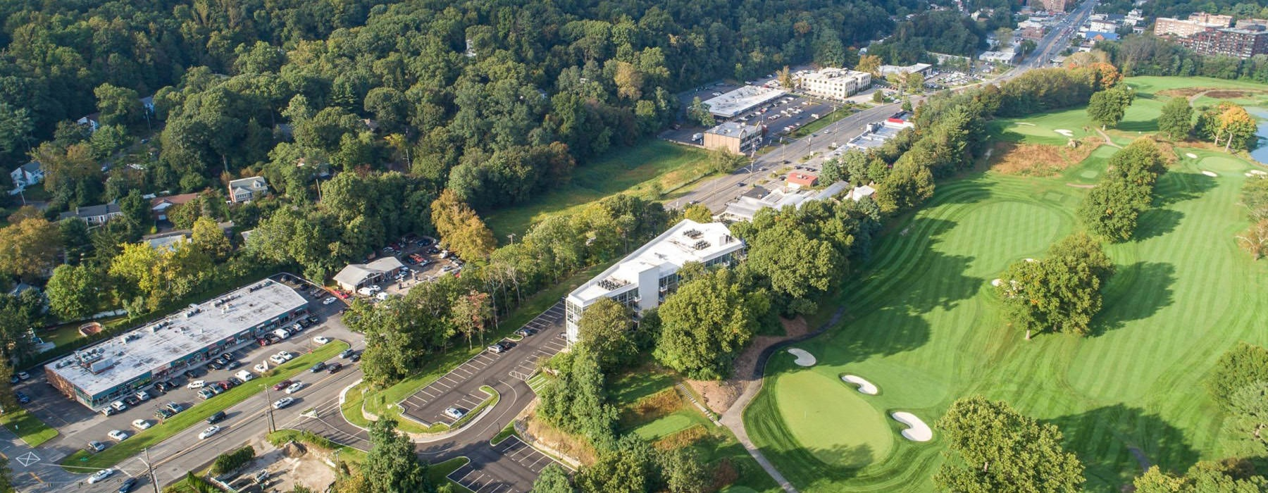 aerial view of Scarsdale Golf Club near Glasshouse 250